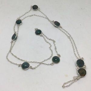 Long Labradorite Silver Necklace